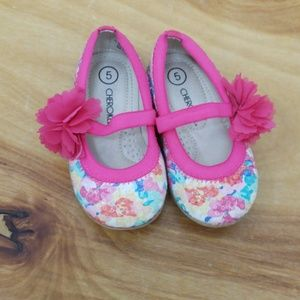 ❤CHEROKEE toddler/baby size 5 sequin flower shoes